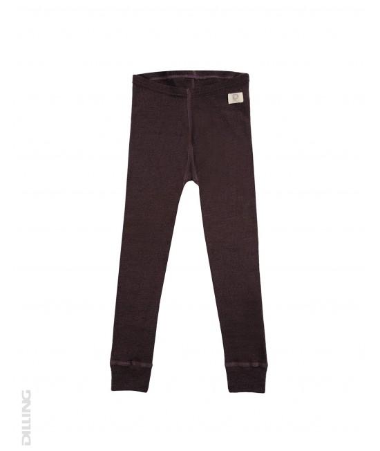 Pantaloni (leggings, colanți) lila din lână Merinos organică Dilling Underwear pentru copii