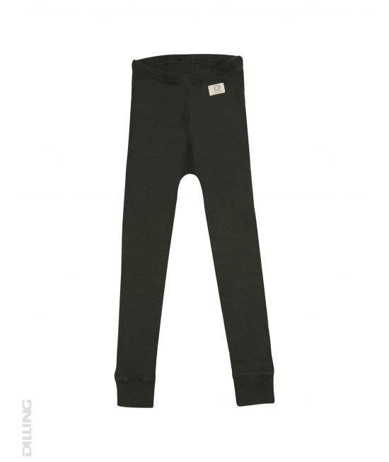 Pantaloni (leggings, colanți) verde închis din lână Merinos organică Dilling Underwear pentru copii