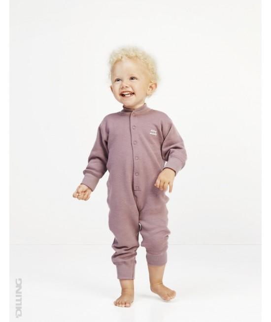 Salopetă overall roz din lână Merinos organică Dilling Underwear