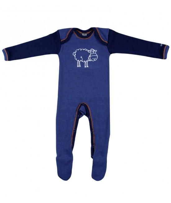 Salopetă - pijama overall bleumarin din lână Merinos organică Dilling Underwear - model 2015