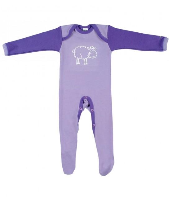 Salopetă - pijama overall mov din lână Merinos organică Dilling  Underwear pentru bebeluși - model 2015