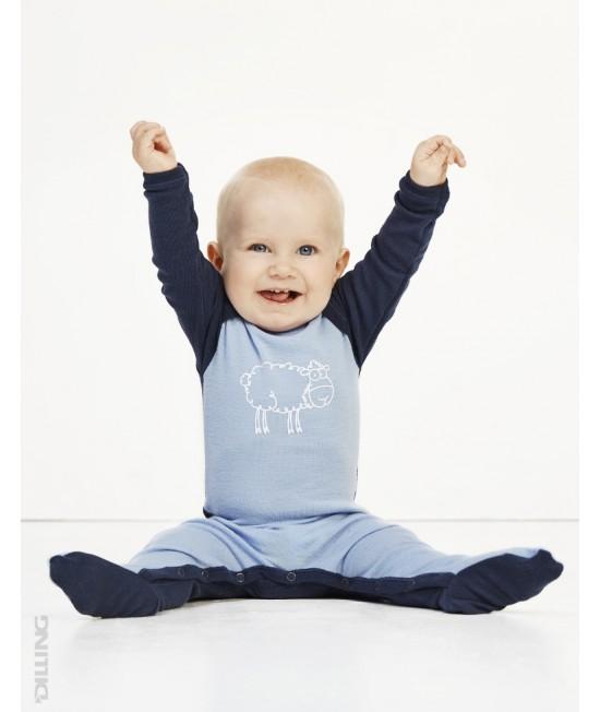 Salopetă - pijama overall albastră din lână Merinos organică Dilling Underwear pentru bebeluși