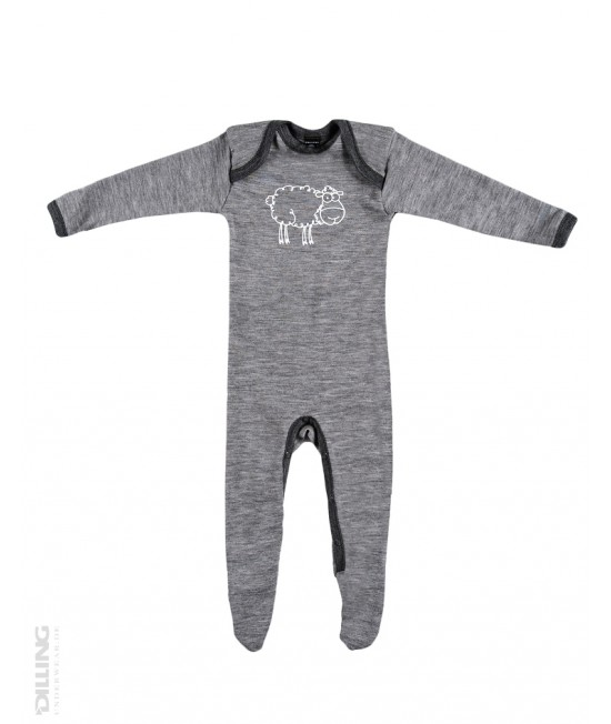 Salopetă - pijama overall gri din lână Merinos organică Dilling Underwear pentru bebeluși
