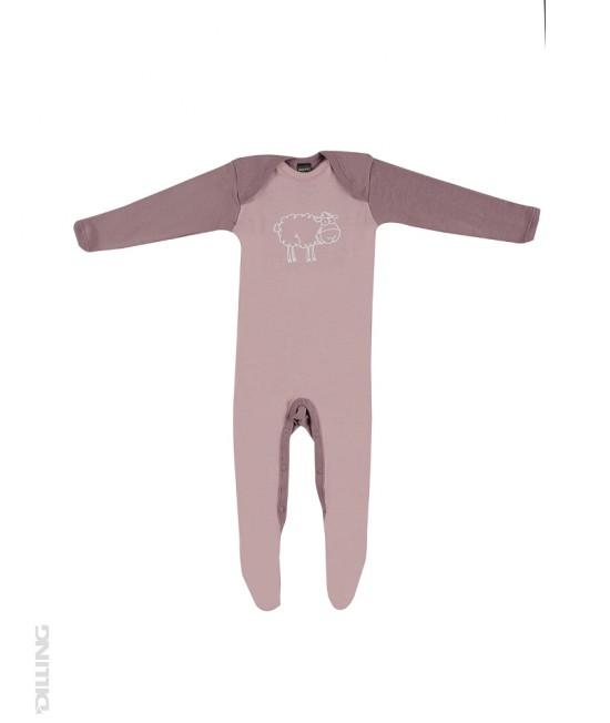Salopetă - pijama overall roz din lână Merinos organică Dilling Underwear pentru bebeluși