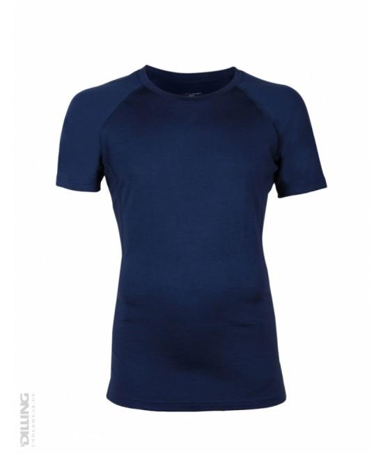 Tricou bleumarin funcțional din lână Merinos organică Dilling Underwear pentru bărbați