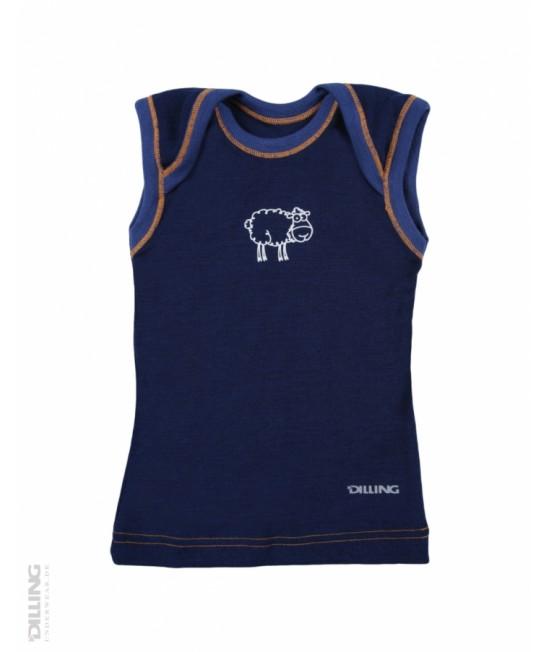 Tricou bleumarin fără mâneci din lână Merinos organică Dilling Underwear (maieu pentru bebeluși)