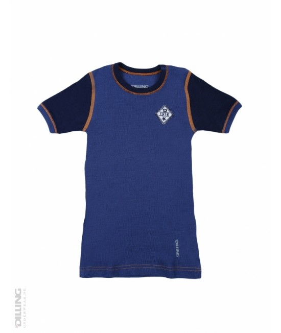 Tricou bleumarin cu mânecă scurtă din lână Merinos organică Dilling Underwear pentru copii