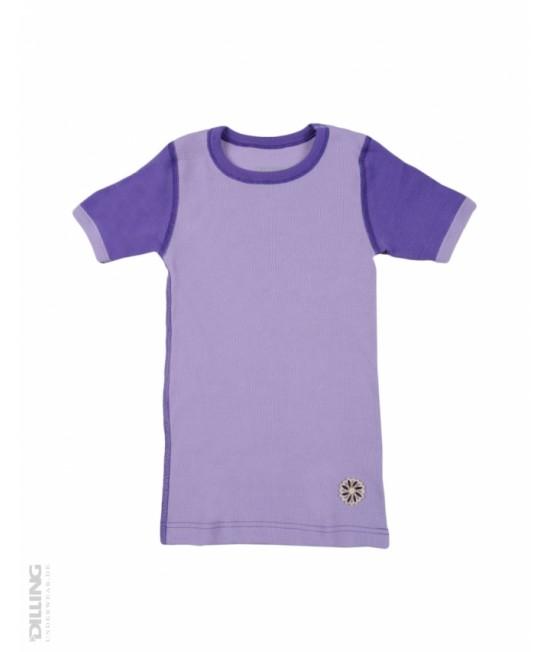 Tricou mov cu mânecă scurtă din lână Merinos organică Dilling Underwear pentru copii