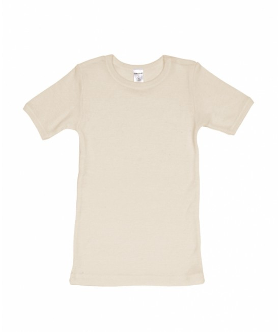 Tricou natur cu mânecă scurtă din lână Merinos organică Dilling Underwear pentru copii