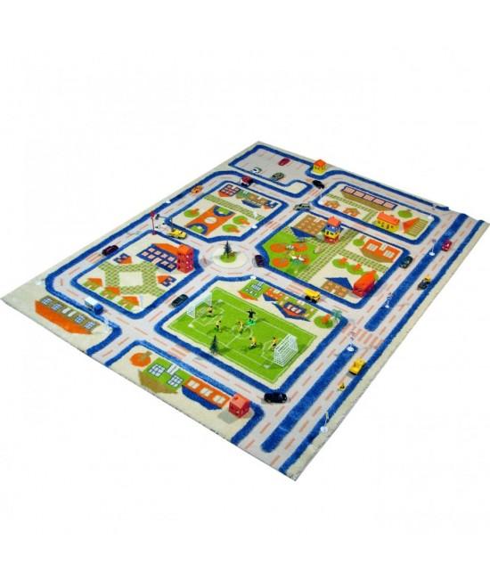 Covor de joacă pentru copii 3D - IVI Blue Town Traffic 160 x 230
