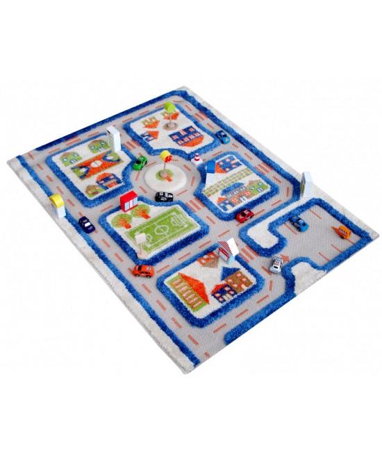 Covor de joacă pentru copii 3D - IVI Blue Town Traffic 80 x 100