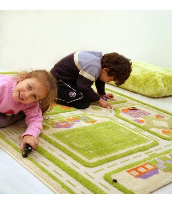 Covor de joacă pentru copii 3D - IVI Green Town Traffic 80 x 100