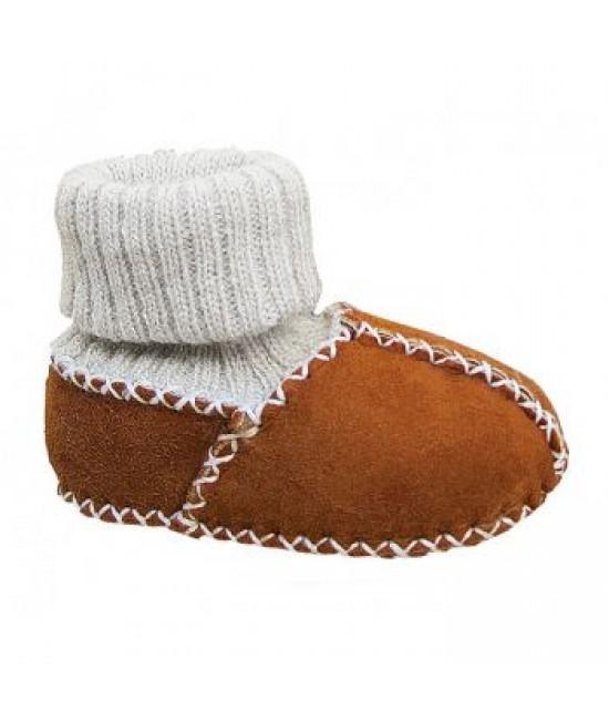 Botoșei Hoppediz din piele, cu manșetă tricotată, pentru bebeluși - maro