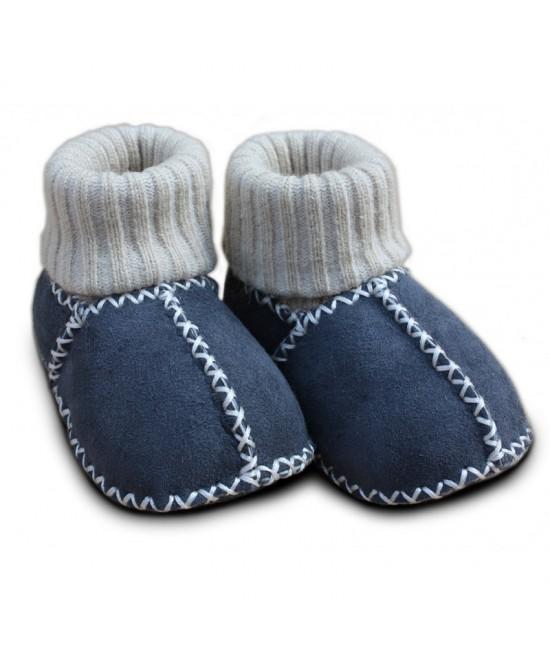 Botoșei Hoppediz din piele, cu manșetă tricotată, pentru bebeluși - gri antracit
