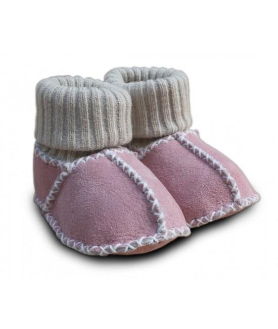 Botoșei Hoppediz din piele, cu manșetă tricotată, pentru bebeluși - roz