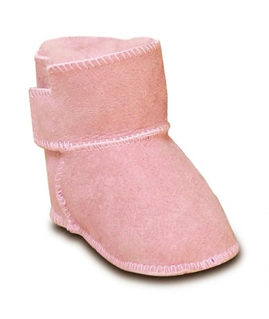 Botoșei Hoppediz din piele, îmblăniți, pentru bebeluși - roz