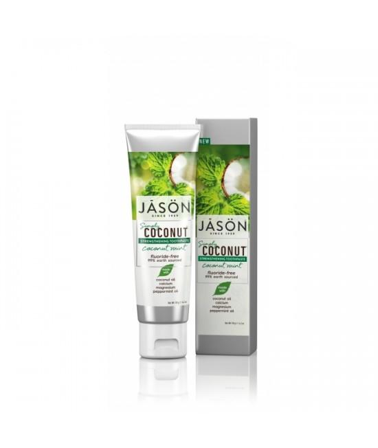 Pastă de dinți naturală Jason cu cocos și mentă pentru întărirea dinților - 119 gr