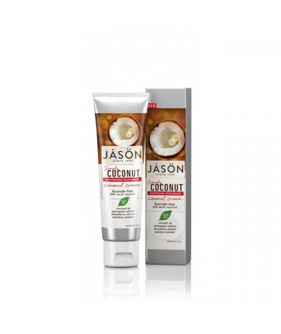 Pastă de dinți naturală Jason cu cremă de cocos pentru albirea dinților - 119 gr