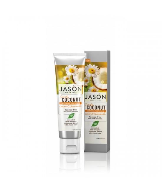 Pastă de dinți naturală Jason cu cocos și mușețel pentru dinții sensibili - 119 gr