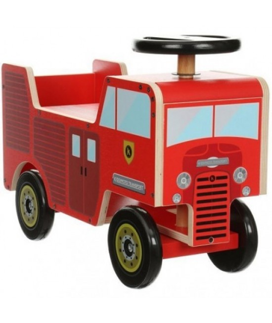 Mașină de pompieri din lemn de călărit (ride on) Kiddimoto Fire Engine