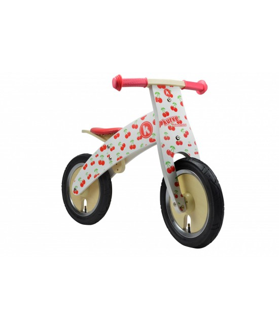 Bicicletă de echilibru din lemn - Kiddimoto Kurve Cherry
