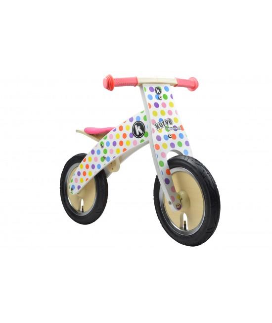 Bicicletă de echilibru din lemn - Kiddimoto Kurve Pastel Dotty