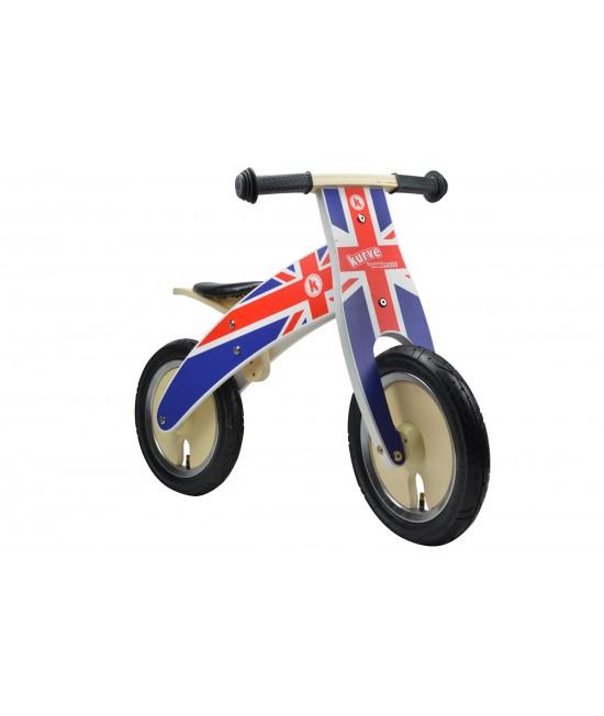 Bicicletă de echilibru din lemn - Kiddimoto Kurve Union Jack