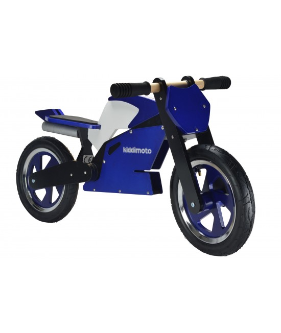 Bicicletă de echilibru din lemn - Kiddimoto SuperBike Blue