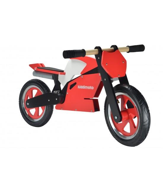 Bicicletă de echilibru din lemn - Kiddimoto SuperBike Red