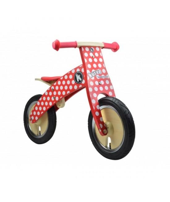 Bicicletă de echilibru din lemn - Kiddimoto Kurve Red Dotty