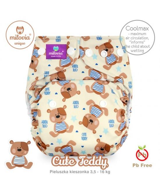 Scutec refolosibil cu buzunar Milovia Coolmax Cute Teddy Unique - cu absorbante Coolmax M+L
