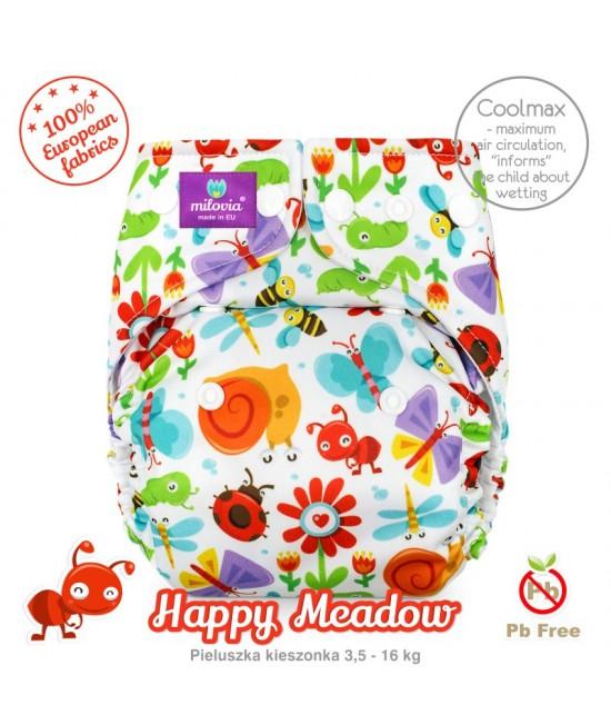Scutec refolosibil cu buzunar Milovia Coolmax Happy Meadow - cu absorbante Coolmax M+L