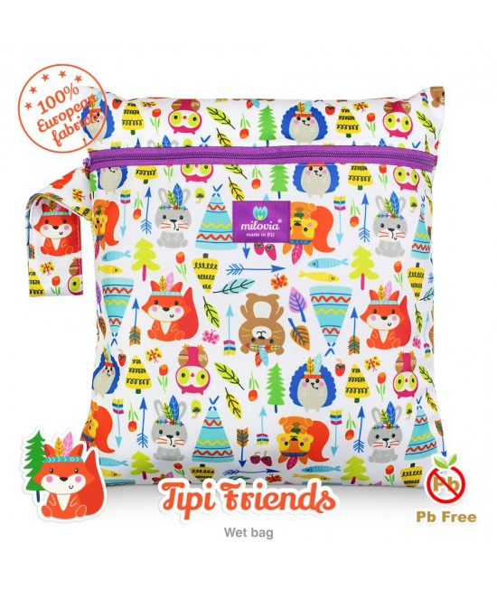 Săculeț pentru depozitarea scutecelor textile (Wet Bag) Milovia Tipi Friends