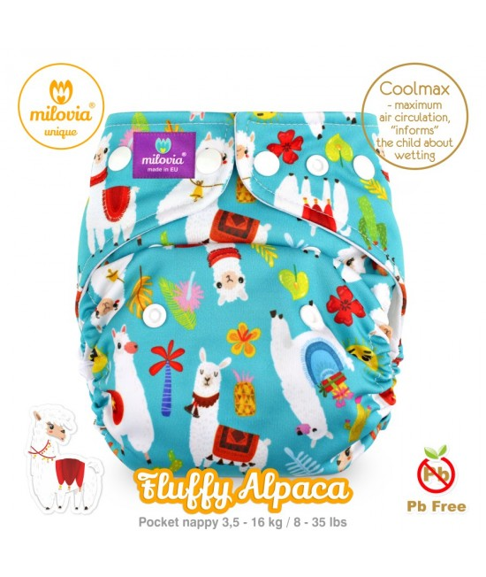 Scutec refolosibil cu buzunar Milovia Coolmax Fluffy Alpaca Unique - cu absorbante Coolmax M+L