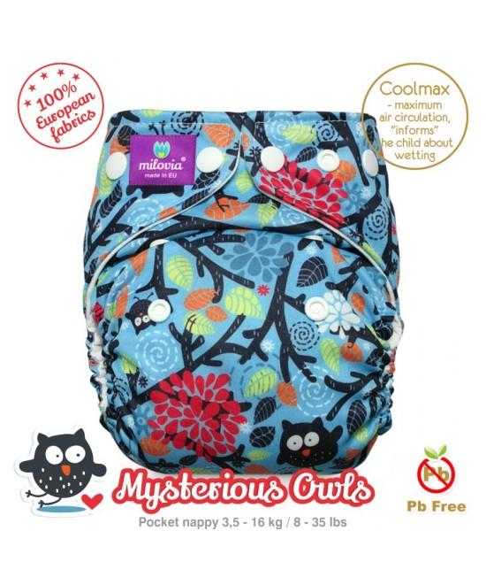 Scutec refolosibil cu buzunar Milovia Coolmax Mysterious Owls - cu absorbante Coolmax M+L