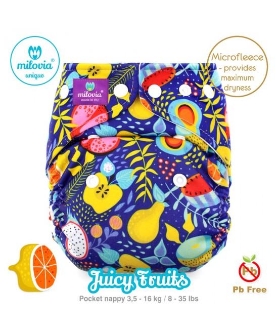 Scutec refolosibil cu buzunar Milovia Juicy Fruits Unique cu 2 inserturi (S+M)