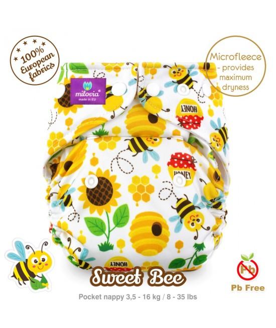 Scutec refolosibil cu buzunar Milovia Sweet Bee cu 2 inserturi (S+M)