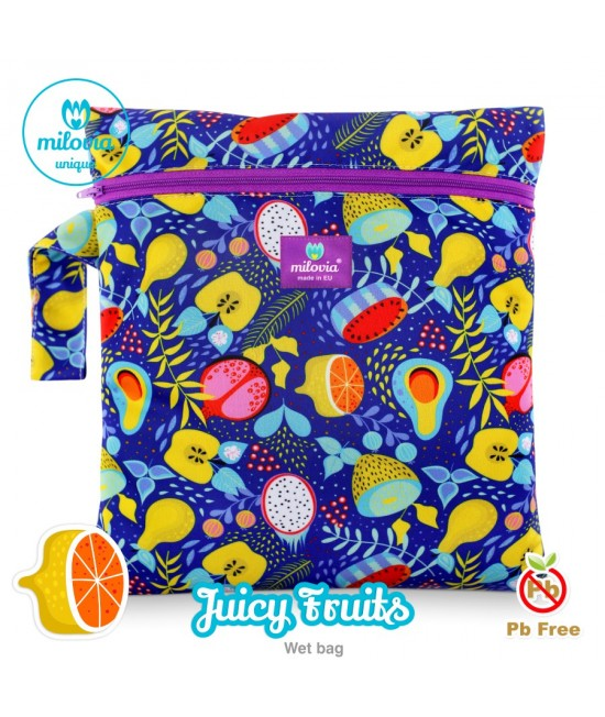 Săculeț pentru depozitarea scutecelor textile (Wet Bag) Milovia Juicy Fruits Unique