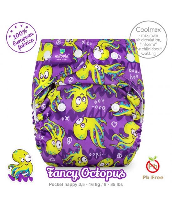 Scutec refolosibil cu buzunar Milovia Coolmax Fancy Octopus cu absorbante Coolmax