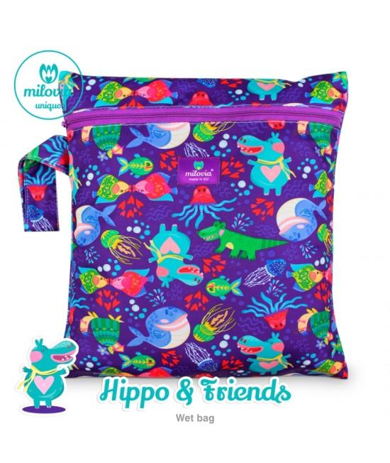 Săculeț pentru depozitarea scutecelor textile (Wet Bag) Milovia Hippo & Friends