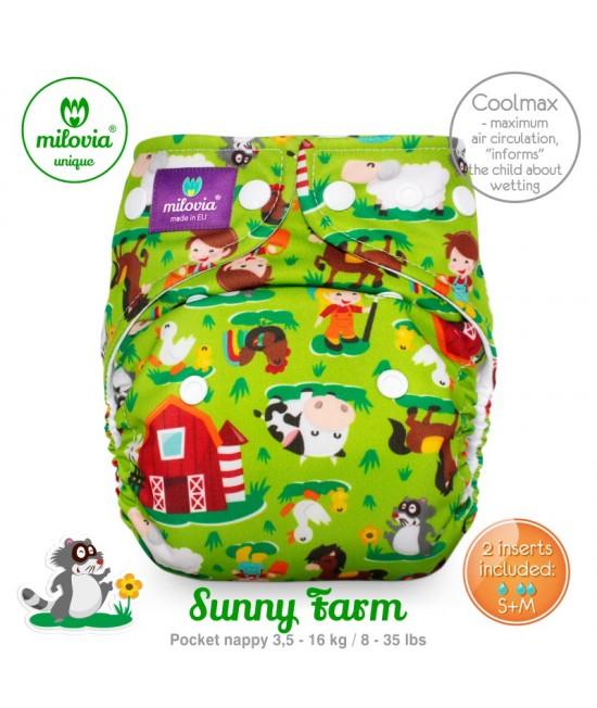 Scutec refolosibil cu buzunar Milovia Coolmax Sunny Farm Unique - cu absorbante Coolmax M+L