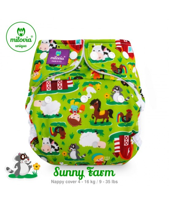 Scutec refolosibil AI2 (cover + inserturi) Milovia Sunny Farm cu 2 inserturi (S+M)