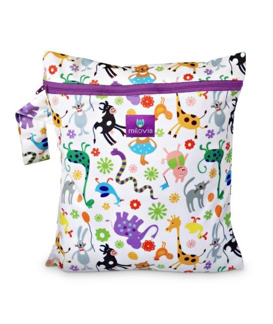 Săculeț pentru depozitarea scutecelor textile (Wet Bag) Milovia Happy Animals