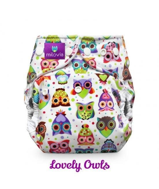 Scutec refolosibil AI2 (cover + inserturi) Milovia Lovely Owls  cu 2 inserturi (S+M)