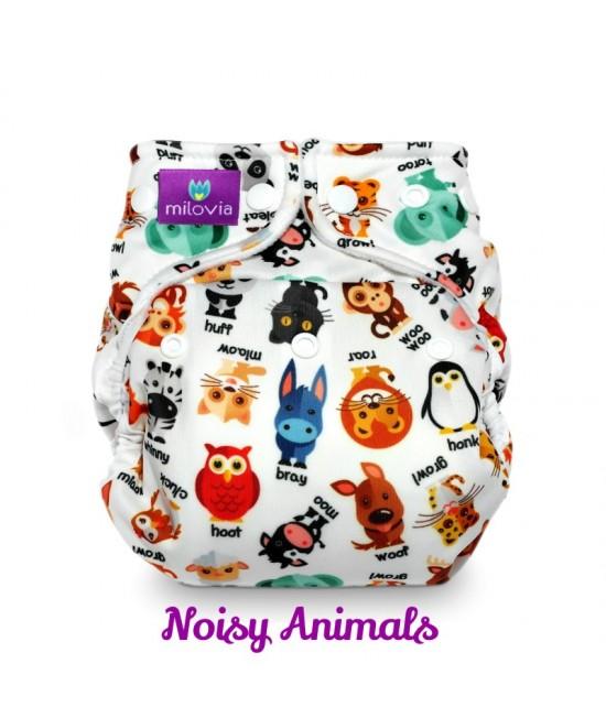 Scutec refolosibil AI2 (cover + inserturi) Milovia Noisy Animals  cu 2 inserturi (S+M)