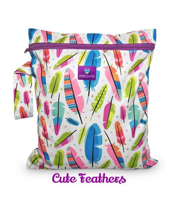 Săculeț pentru depozitarea scutecelor textile (Wet Bag) Milovia Cute Feathers