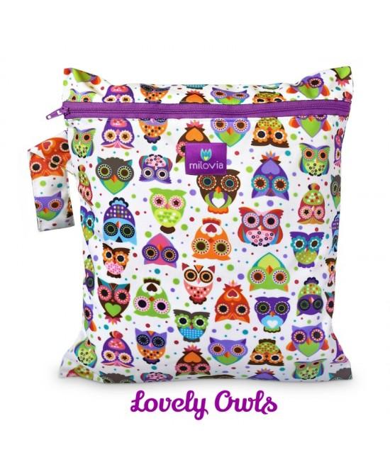 Săculeț pentru depozitarea scutecelor textile (Wet Bag) Milovia LovelyOwls
