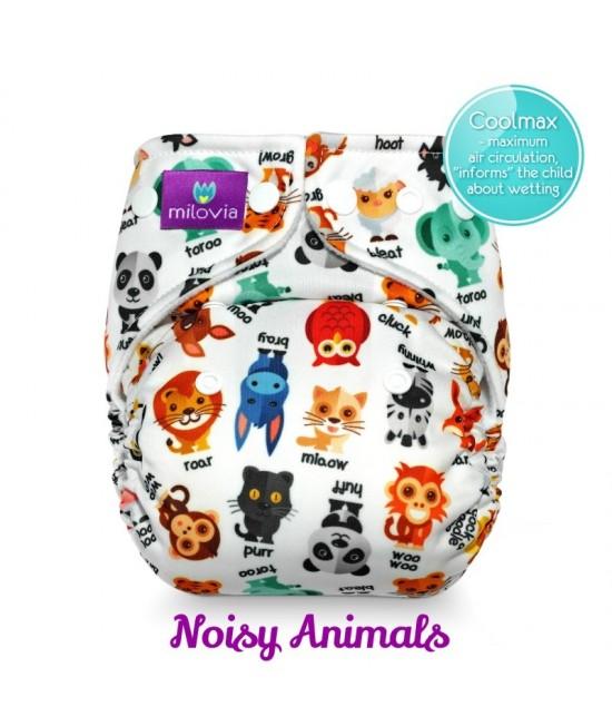 Scutec refolosibil cu buzunar Milovia Coolmax Noisy Animals - cu absorbante Coolmax