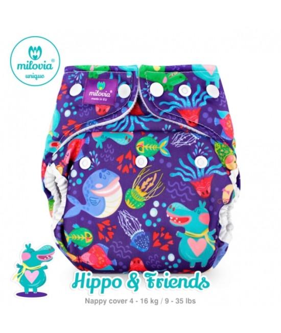 Scutec refolosibil AI2 (cover + inserturi) Milovia Hippo & Friends cu 2 inserturi (S+M)