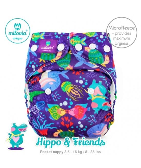 Scutec refolosibil cu buzunar Milovia Hippo & Friends